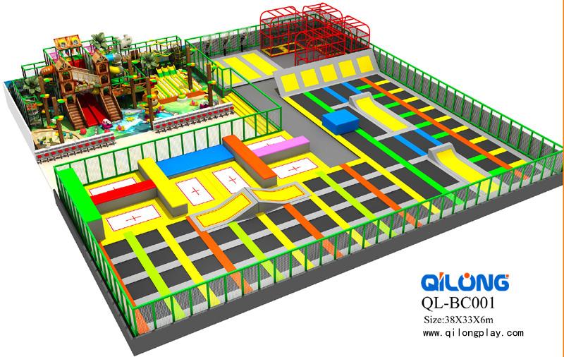 New Design Ninja Course Kids Indoor Trampoline Park Bungee