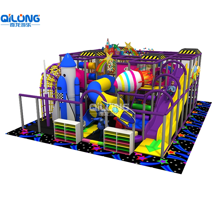 Small area indoor playground equipment for kids and nice look with 62sqm