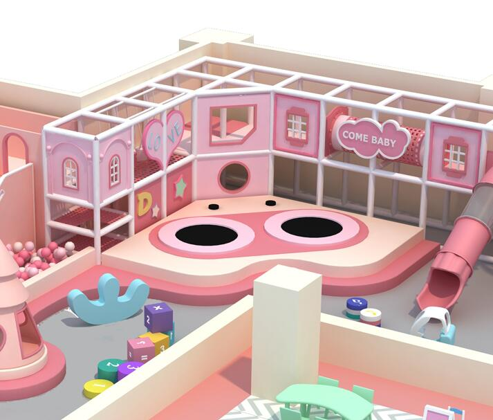 Pink Dream Cheap Customized Indoor Commerical Playground Equipment For Children