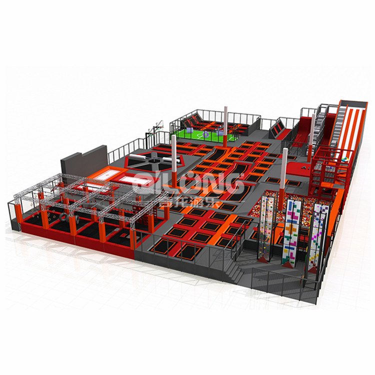 Customize factory price Trampoline Park Indoor, kids adults Amusement Park Trampoline with donut slides,climbing wall